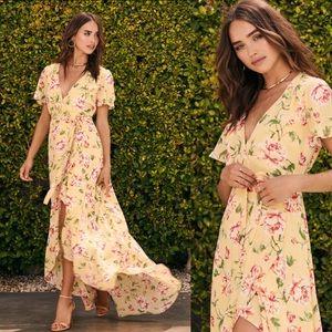 Lulus Sense Of Wonder Yellow Floral Maxi Dress